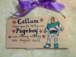 BUZZ LIGHTYEAR PAGEBOY RINGBEARER USHER BEST MAN WEDDING FAVOUR KEEPSAKE THANK YOU SIGN PERSONALISED Handmade Each One Unique OOAK